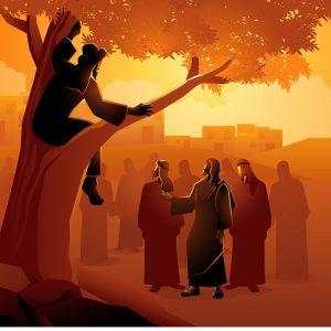 zacchaeus-climbed-up-into-a-sycamore-tree-vector-id1172683202